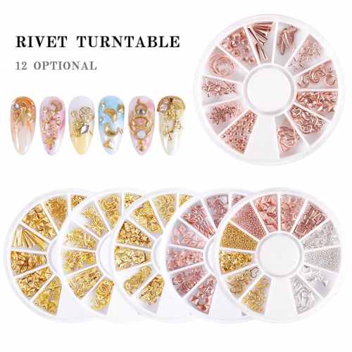 12 Style Nail Art Wheel Rose Gold/Silver/Gold 3D Nail Studs Rivet Metal Star Mixed Patterns Flat-back DIY Metal Nail Decoration