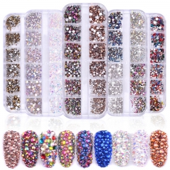 1 Box Multi Size Glass Nail Rhinestones Mixed Colors Flat-back AB Crystal Strass 3D Charm Gems DIY Manicure Nail Art Decorations