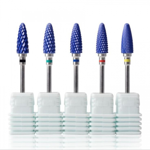 1Pc Blue Ceramic Nail Drill Bit Manicure Machine Accessories Rotary Electric Nail Files Manicure Cutter Nail Art Tools 5 Types