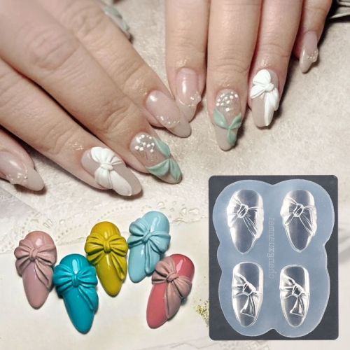 1pc 3D Silicone Nail Carving Mold DIY Acrylic Butterfly Bow Heart Designs Mould Stamping Template Nails Stencils Manicure Tools
