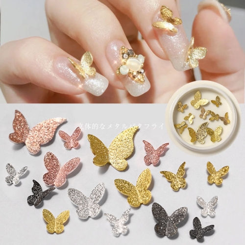 10pcs/jar 3D Metal Butterfly Design Nail Art Decorations Charm Jewelry Gems for Nails Japanese Style DIY UV Gel Manicure Accessories