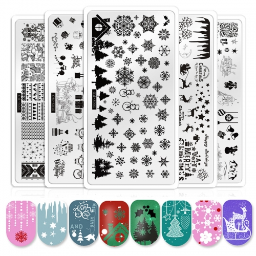 1pcs Christmas Nail Art Stamping Plates Snowflake Tree Halloween Ghost Pumpkin Pattern Manicure Image Nails Stencil Template Tools