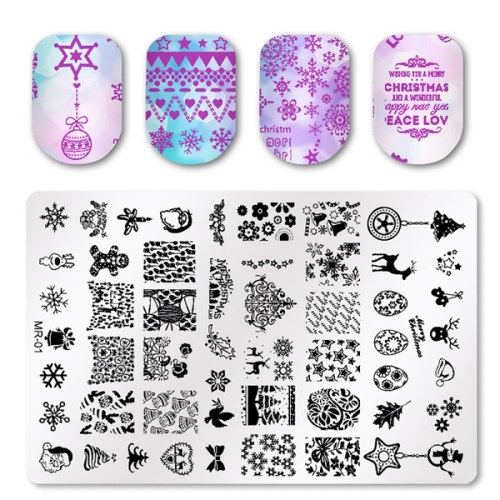 1pcs MR Christmas Series Nail Art Stamp Stamping Stainless Steel Mold Nail Polish Printing Stencil Nail Template Tools