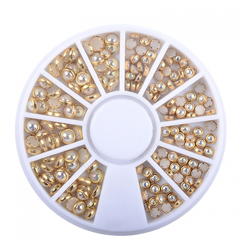 1Wheel AB Beige Color Metal Edge Glitter Nail Beads Studs DIY Beauty Charm Nail Art Pearls Decorations Wheel