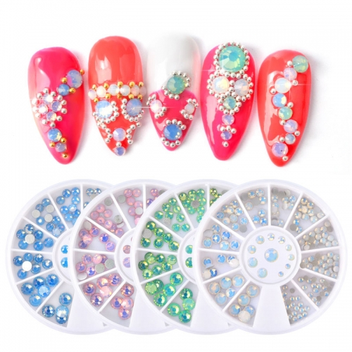 1 wheel Opal Nail Rhinestones Flat Bottom Colorful Crystal Rhinestones Multi-size 3D Nail Art Decorations In Wheel DIY Accessories