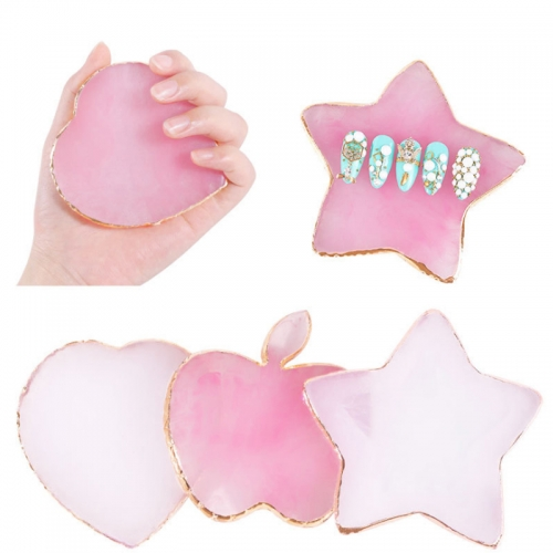 1Pc Pink/White False Nail Tips Display Holder Apple/Heart/Star Design Gold Edge Painting Color Palette Board DIY Manicure Tools