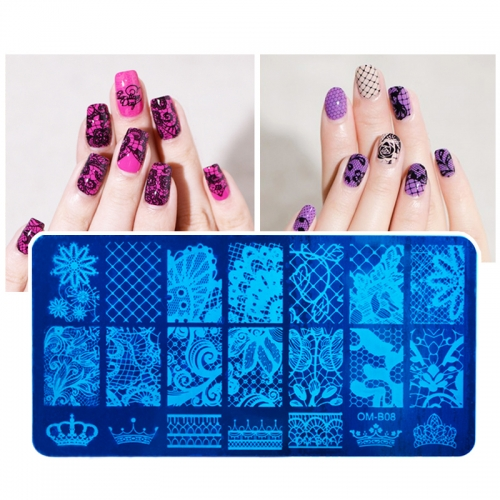 1pcs New 6X12cm Rectangular Nail Stamping Plates Flower Lace Design Nail Art Polish Stamp Template Manicure Tools