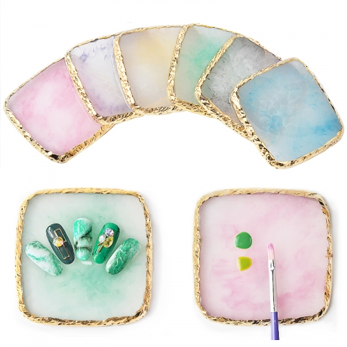 1Pcs Natural Resin Stone Color Palette False Nail Tips Display Board Stand Holder Practice Showing Shelf Manicure Nail Art Tools