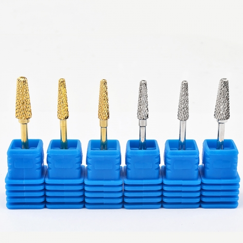 1Pcs Gold Silver Tungsten Carbide Nail Drill Bits Mills Cutter For Electric Manicure Machine Accessories Pedicure Nail Art Tools
