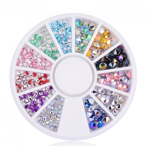1wheel 2mm 4mm 3D Nail Art Tips Gems Crystal Glitter Sharp End Rhinestone DIY Nail Decoration