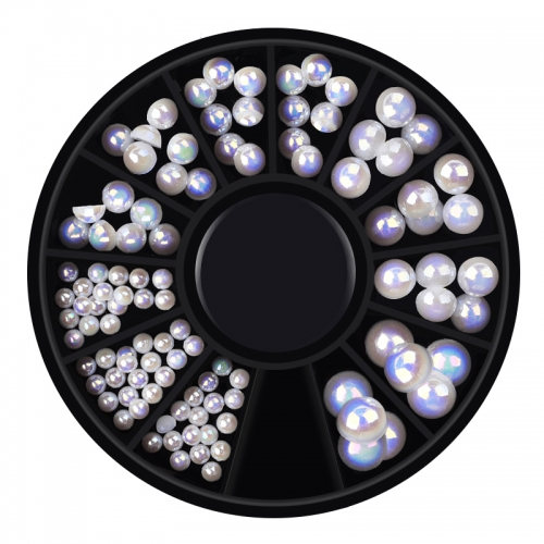 1wheel  Mix Size Pearl Mermaid Gradient Symphony AB Beads Flatback 3D Glitter Nail Art Decorations Tips DIY Charm Manicure Wheel