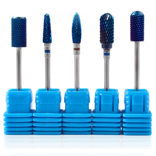 5 Types Tungsten Carbide Burrs Nano Coating Nail Drill Bits Blue Metal Drill Bits For Manicure Electric Drill Accessories