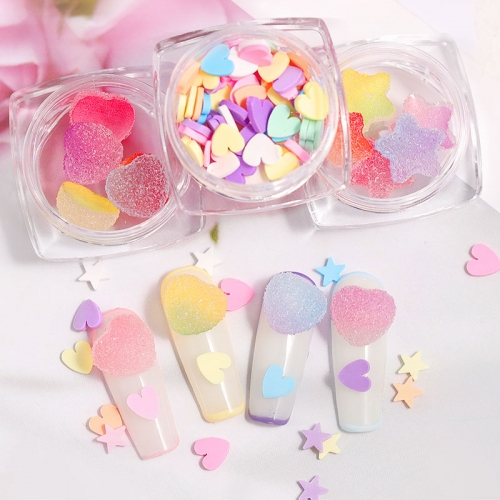 3D Heart Star Nail Art Decorations Gradient Colorful Soft Fudge Designs Sweet Candy DIY Accessories For Nails Manicure