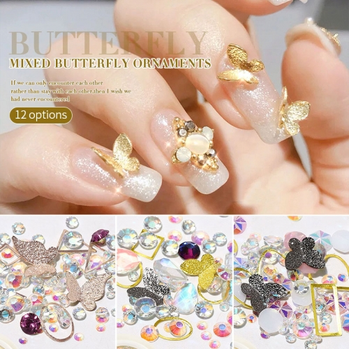 Mixed AB Crystal Nail Rhinestones 3D Butterfly Sequins Metallic Butterfly Nail Studs Hollow Rivets Shining Nail Art Decorations