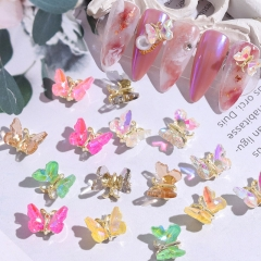 1pcs Super Shiny AB Crystal Butterfly Nail Art Decoration 3D Holographic Butterflies Rhinestones DIY UV Gel Manicure Accessories