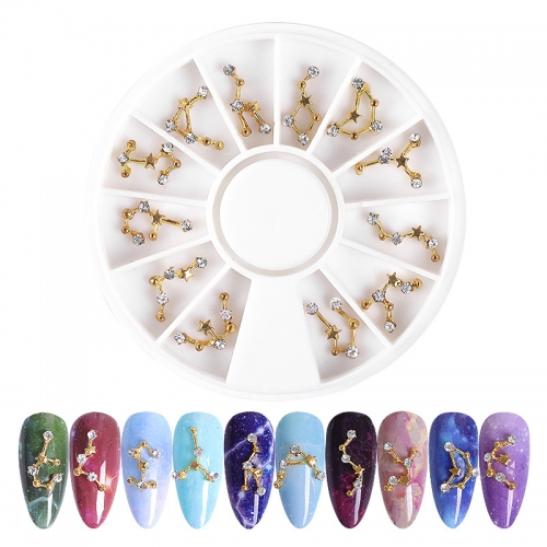 1wheel Constellation Shape Nail Art Decorations 3D Alloy Nail Rhinestones  Jewelry Decor Nail Wheel DIY Manicure Accessories