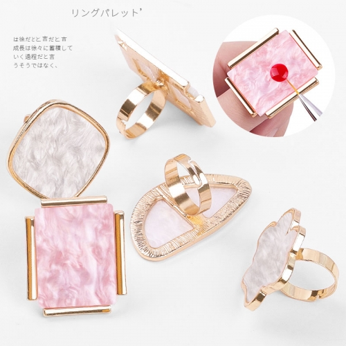 White/Pink Nail Art Ring Palette Mixing Acrylic UV Gel Polish Painting Drawing Color Board Ring Palette Display Manicure Tools