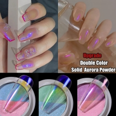 Double Color Solid Aurora Nail Powders Transparent Holographic Neon Nail Glitters Chameleon Powder Dust Chrome Nail Art Pigments