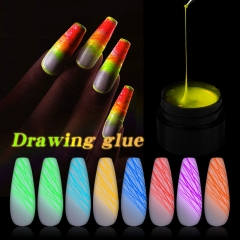 8ml Luminous Spider Line Nail Art Gel Polish Pulling Wire Colors Painting Gel Nail Polish Glow in the Dark 3D Drawing UV Varnish