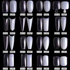 500pcs/bag Natural Clear False Acrylic Nail Tips Full/Half Cover Tips French Sharp Coffin Ballerina Fake Nails UV Gel Manicure Tools