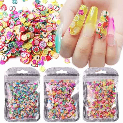 1pack 5mm Polymer Clay 3d Nail Art Decoration Mix Flowers Feather Fruit Cane For DIY Acrylic Nail Phone Supplies