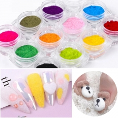 12 Colors/set Fuzzy Flocking Velvet Nail Powder Colorful Cashmere Glitter Nail Art Dust Winter UV Gel Polish Manicure Decorations