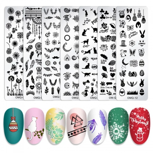 1pcs Nail Stamping Plate Mix Flower Butterfly Geometry Cartoon Designs Transfer Stencils Stamp Template for Printing Manicure Tools