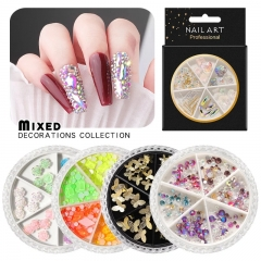 1wheel Mixed Colors AB Crystal Nail Rhinestone 3d Butterfly Resin Rose Flower Ornaments Natural Shell Flakes Metal Nail Art Decorations