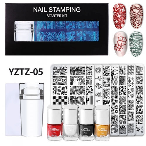 1set Nail Art Stamping Plate Silicone Nail Stamper Polish Transfer Leaf Flower Geometry Lace Template Stencil Manicure Tools Kits