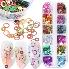 12colors/box Circle Nail Glitter Sequins Gold Purple Slice Mirror Holographic Ring Flake Nail Art Paillette Manicure Decoration