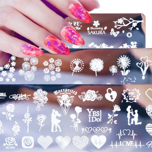 1set Stainless Steel Nail Stamping Plates Set Flower Animal Image Nail Stamp Stencil Nail Art DIY Accessories