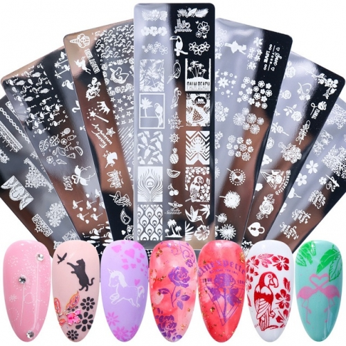 1Pcs Nail Art Stamping plates Letter Cat Image Plates Nail Polish Template New Year Stencil For DIY Manicure