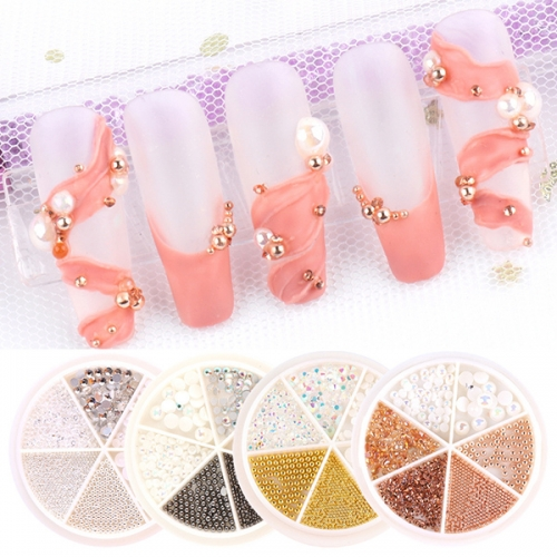 6 in 1 Wheel Nail Rhinestones AB Glitter Diamond DIY Ballet Decoration on Nail Art Steel Beads 3D Charms Stone Accessory