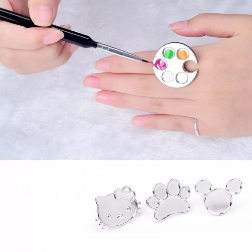1pcs Fashion Manicure Tools Cute Nail Art Metal Finger Ring Palette Mixing Acrylic UV Gel Polish Painting Drawing Color Paint Dish