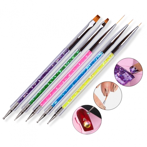 5 Pcs/Set Double-headed Point Drill Pull Line Pen Sequins Sequins UV Gel Drawing Painting Brush Nail Design Manicure Tool