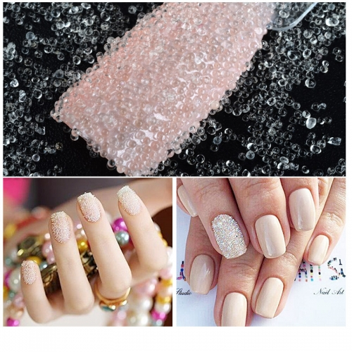 1bottle Manicure Glass Beads Elf Beads Transparent White Beads Transparent Beads Nail Tools Decoration Accessories