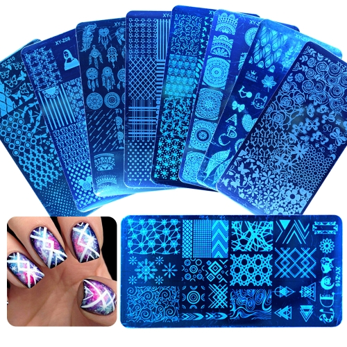 1Pcs Mixed Design Stainless Steel Nail Art Stamping Plates Rectangular Image Template DIY Manicure Stencils Tools