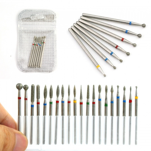 7Pcs/Bag Stainless Steel Electric Cuticle Clean Rotary Nail Drill Bit Set for Manicure Machine