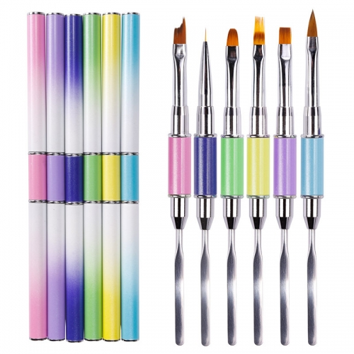 1pcs Colorful Double End Spatula Flower Drawing Gradient Liner Nail Art Brush Painting Pen with Metal Flat Pusher