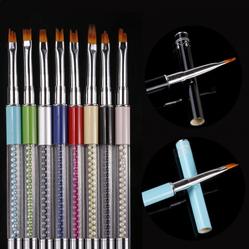 1pcs French Tip Gradient Drawing Painting Gel Pen Acrylic Nail Brush Set