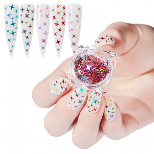12Colors/set Star Shape Laser Shining Holographic Nail Sequins Glitter