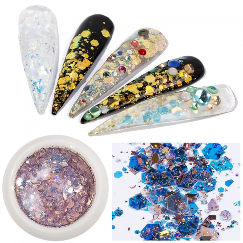 8colors/set Mix Sizes Hexagon Shape Nail Glitter Holographic Paillette Flake Decorations Nail Art Sequins