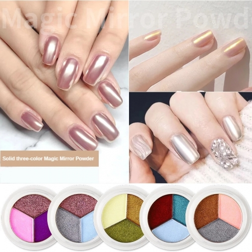1PC Nail Art Three-color Solid Magic Mirror Powder Bright Aurora Powder Nail Decoration Chrome Titanium Manicure Pigment Powder