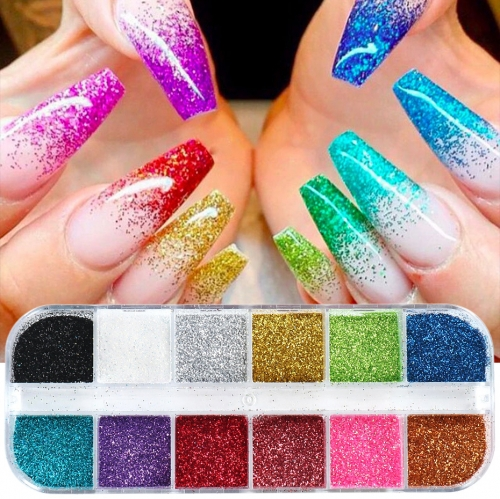 12colors/box Nail Shimmering Powder Ins Retro Color Matching Nail Laser Glitter Granulated Sugar Woolen Pink Nail Glitter Sequins
