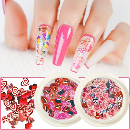 Valentine's Day Series Red Heart Lips Nail Sticker Nail Designs Art Decorations