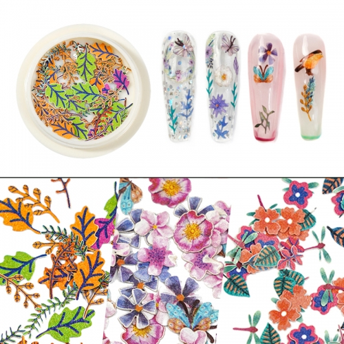 1jar New Spring Butterfly Flower Leaf Wood Pulp 3D Nail Art Decal Sticker