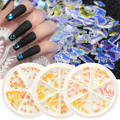 60pcs/wheel Nail Rhinestones Aurora Crystal Gems Flatbakc Beads Nail Art Decor 3D Heart Shape Diamond Stone Manicure Design