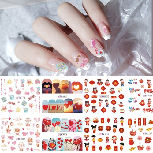 12designs/set Nail Art Sticker Balloon Lip Print Valentine's Day and New Year Nail Art Sticker Watermark Nail Sticker