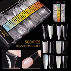 500pcs/box Transparent Natural False Nail Tips C Curve Full/Half Cover French Acrylic Fake Nails DIY UV Designs Manicure Tools