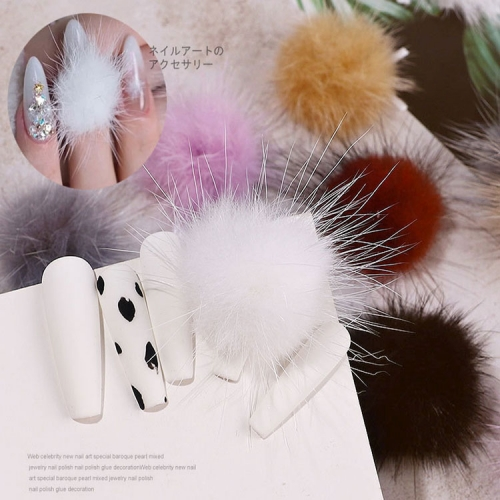 1pcs Detachable Hairy Ball Nail Art Decorations with Magnet 3D Cute Hair Flower Balls Manicure UV Gel Polish Decoration Tool
